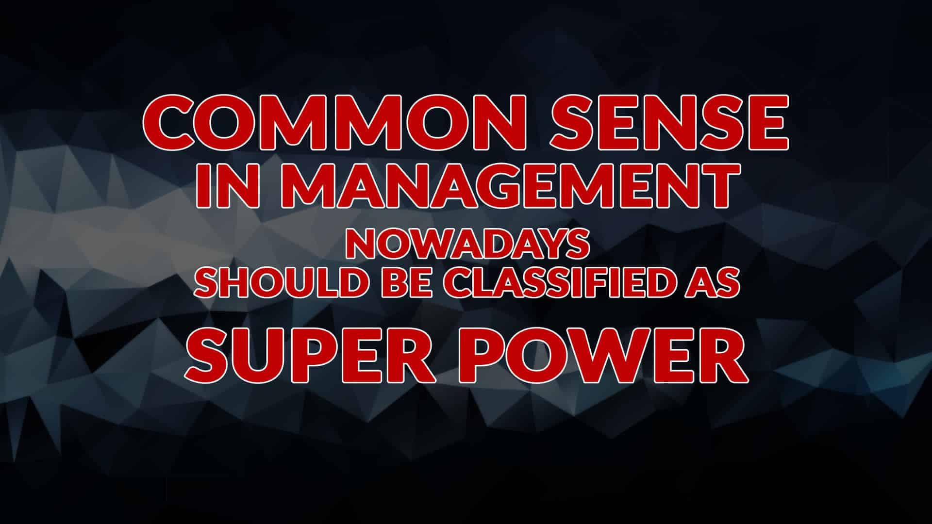 Common Sense in Management